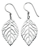 E4194 Silver Drop Leaf Earrings