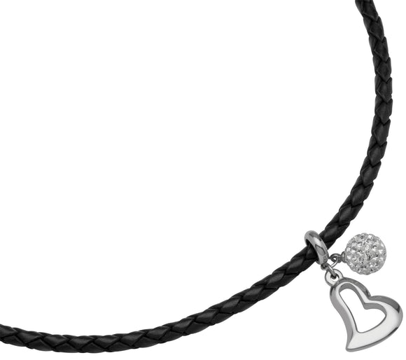 K155BL Unique Black Leather Necklace