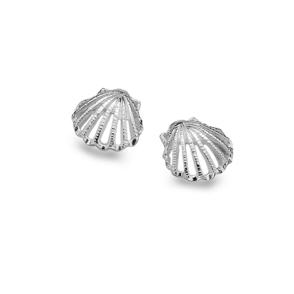 P1026 Seagems Silver Scallop Shell Stud Earrings