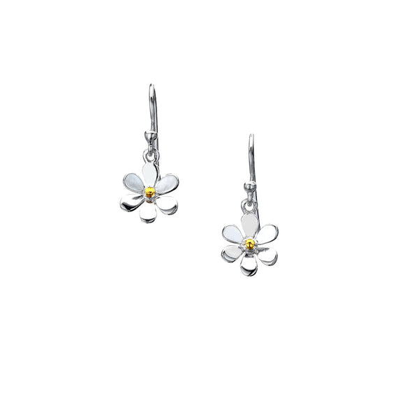 P1452 Silver Daisy Earrings with Brass Centre