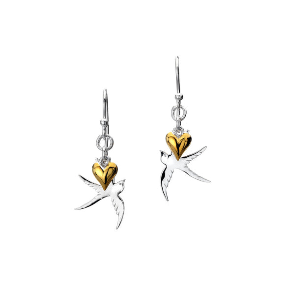 P1817 Seasgems Silver Swallow Earrings with 2pc Gold Plated Heart