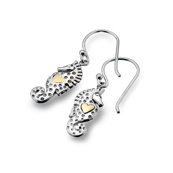 P2330 Seagems Silver Drop Earrings Seahorse with Brass Heart