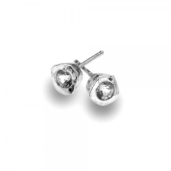 P2333CZ Seagems Silver Stud Earrings with Cubic Zirconia