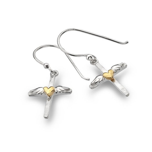 P2445 Seagems Silver Cross Earrings with Wings and Brass Heart