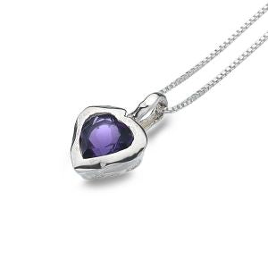 P2446A Seagems Sterling Silver Stud Necklace with Amethyst Stone Heart