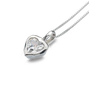 P2446CZ Seagems Sterling Silver Necklace with Cubic Zirconia Stone Heart