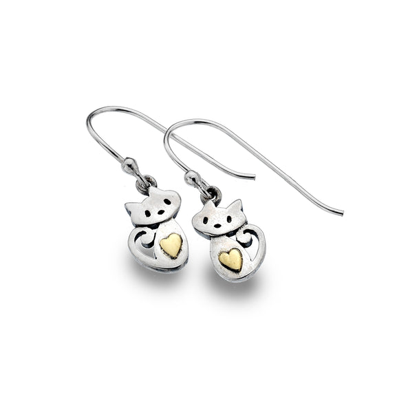 P2883 Seagems Silver Kitten with Curly Tail Brass Heart Earrings