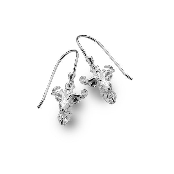 P3386 Seagems Silver Stags Head Earrings