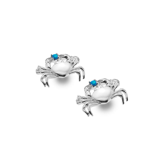 P3625BO Silver Crab Stud Earrings with Blue Syn/Opal