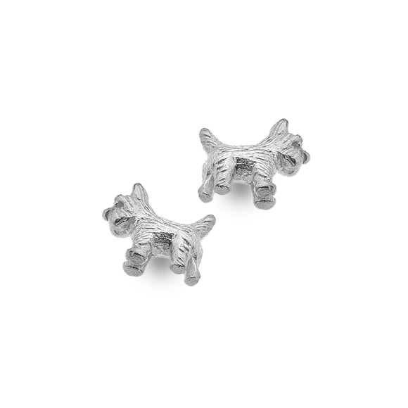 P3652 Seagems Silver Stud Earrings Scotty Dog