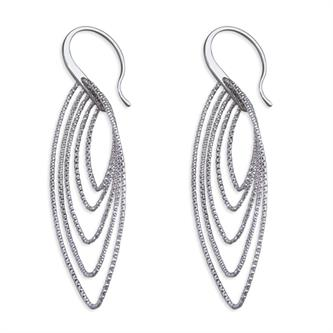 CME Multi-diamond Cut Pointed Ovals Hook-in drop Earrings