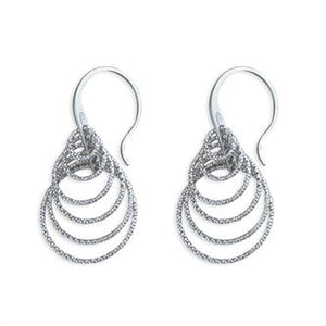 CME Layered Multi-diamond Cut Circles Hook-in drop Earrings