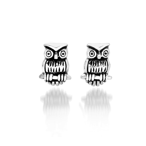 3640 Seagems Silver Owl on Brach Stud Earrings