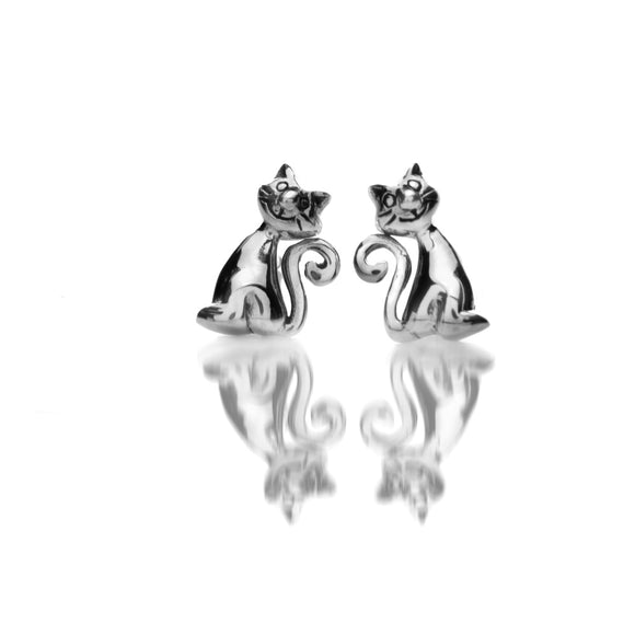 3660 Seagems Silver Cat with Curly Tail Stud Earrings
