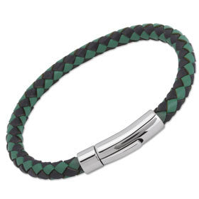 Unique Black/Green Leather Bracelet