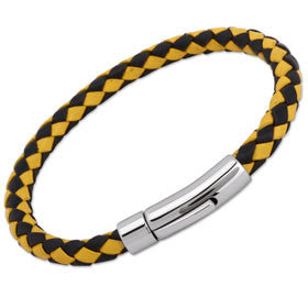 Unique Black/Yellow Leather Bracelet