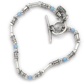 Elran Aviv Silver Bracelet With Silver Beads And Opals