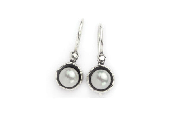 Elran Aviv Earrings With A Pearl And Fish Hook Fastening