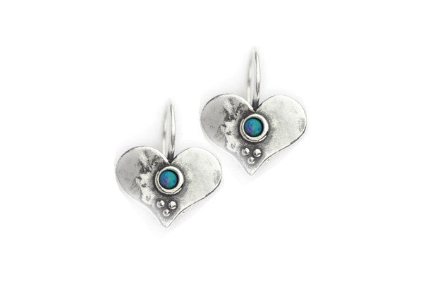 Elran Aviv Earrings Handmade With Blue Opal To The Centre
