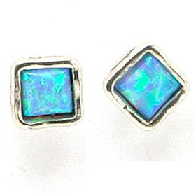 Elran Aviv Earrings With Square Blue Opal