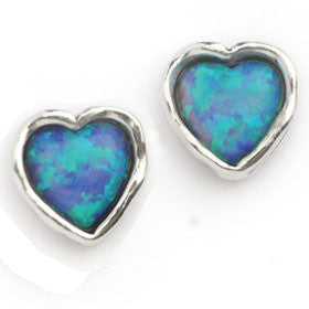 Elran Aviv Earrings Heart Shaped Blue Opal Hand Made Earrings