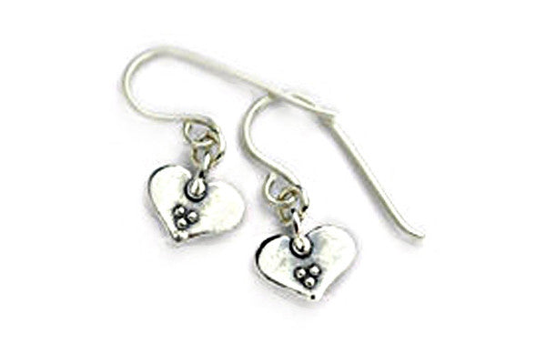 Elran Silver Heart Earrings With Three Dots
