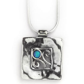 Elran Aviv Hand Made Silver Necklace With Square Pendant