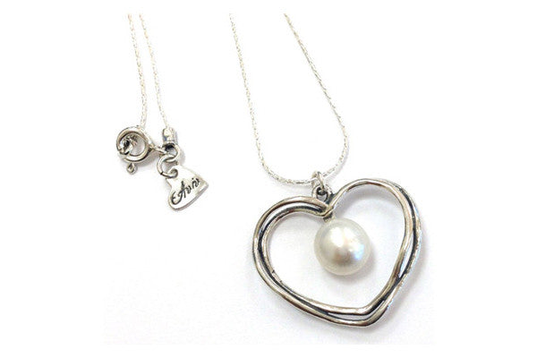 Elran Silver Necklace & Pendant With A Pearl In Heart