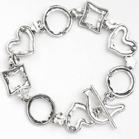 Elran Aviv Silver Bracelet With Bird T Bar