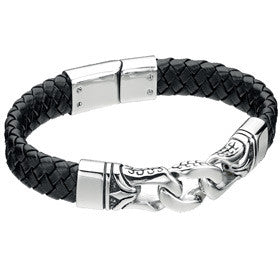 Fred Bennett Stainless Steel & Leather Bracelet B3897