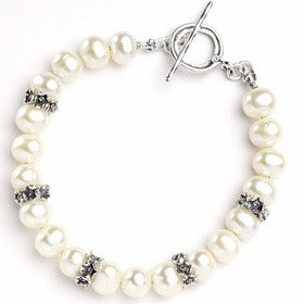 Elran Aviv Silver & Pearl Bracelet With T Bar