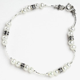 Elran Aviv Silver & Pearl Bracelet With Small Silver Beads
