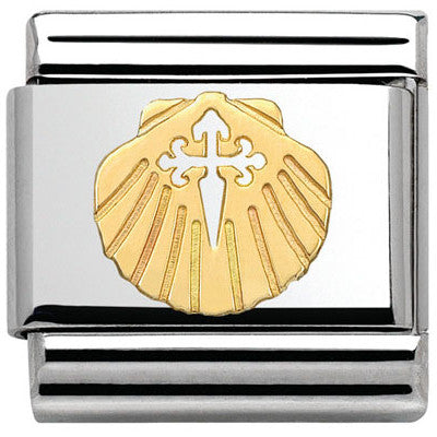 Nomination Classic Gold Shell Cross of Santiago Charm