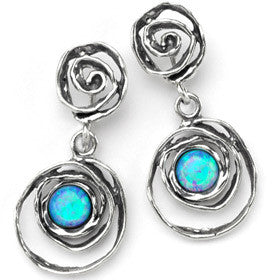 Elran Aviv Earrings Silver Drop With Blue Opal