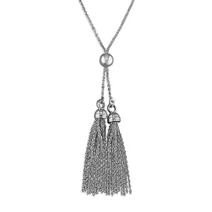 CME Cross Chain Double Tassle Slider Necklace