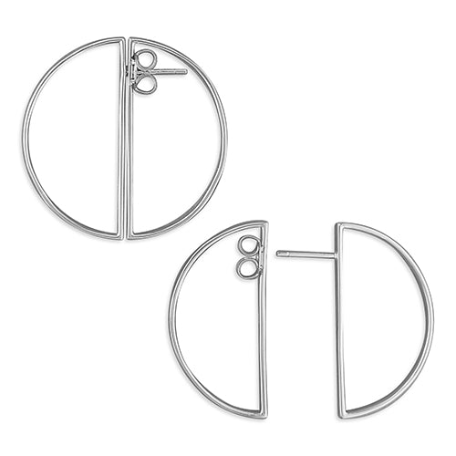 Front and back semi-circles stud