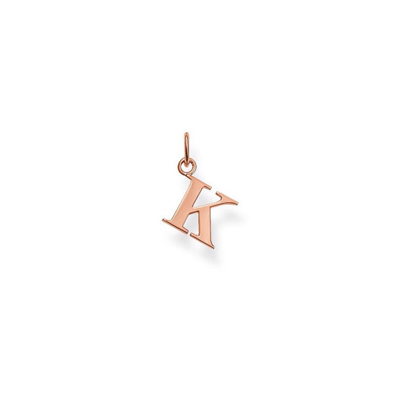 SALE Thomas Sabo Sterling Silver Rose Gold Plated Letter K Pendant