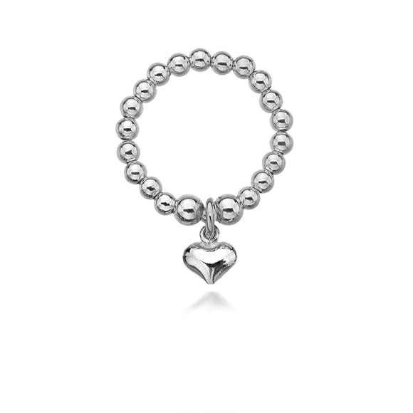 Paris Solid Silver Heart Ring
