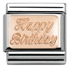 Nomination Classic 9ct Rose Gold Happy Birthday Charm