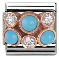 Nomination Classic Rose Gold Cluster Turquoise & CZ Charm