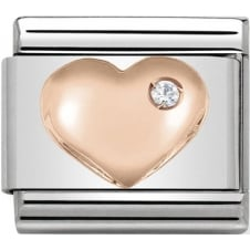 Nomination Classic Rose Gold CZ Raised Heart Charm
