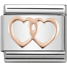 Nomination Classic Rose Gold Double Hearts Charm
