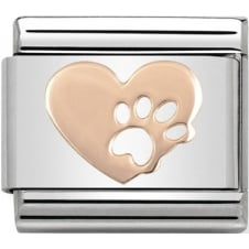 Classic Rose Gold Heart with Paw Prints Charm