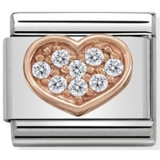 Nomination Classic Rose Gold & White CZ Heart Charm