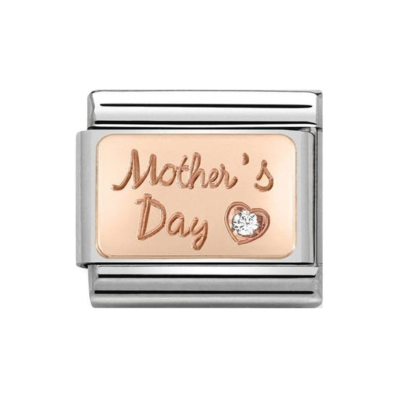 Nomination Classic Rose Gold & White CZ Mother's Day Charm