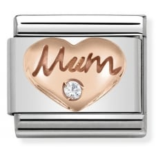 Nomination Classic Rose Gold & White CZ Mum Heart Charm