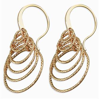 CME Rose gold-plated Layered Multi-Diamond Cut Circles Hook-in drop Earrings