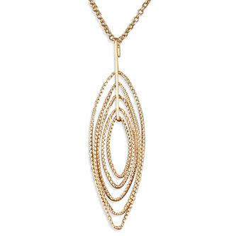 CME Rose Gold-plated Multi-diamond Cut Pointed Ovals Necklace
