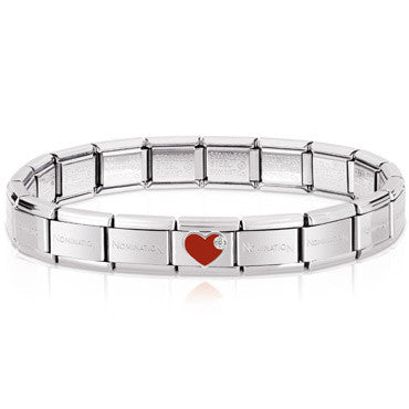 Nomination Silver Starter Bracelet Wth Red Heart