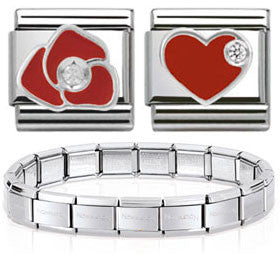 Nomination Silver & Enamel Starter Bracelet With Red Flower And Heart